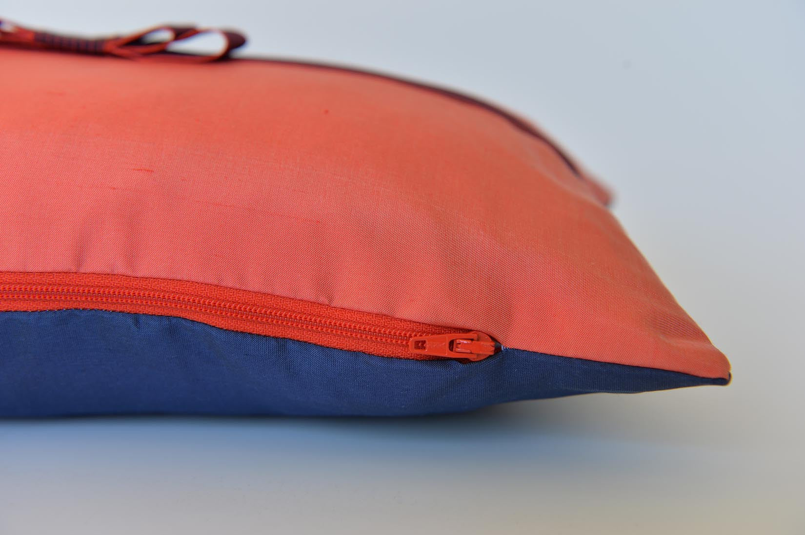 """Noeud"" Rouge coral silk cushion - MyBilletDoux.com"