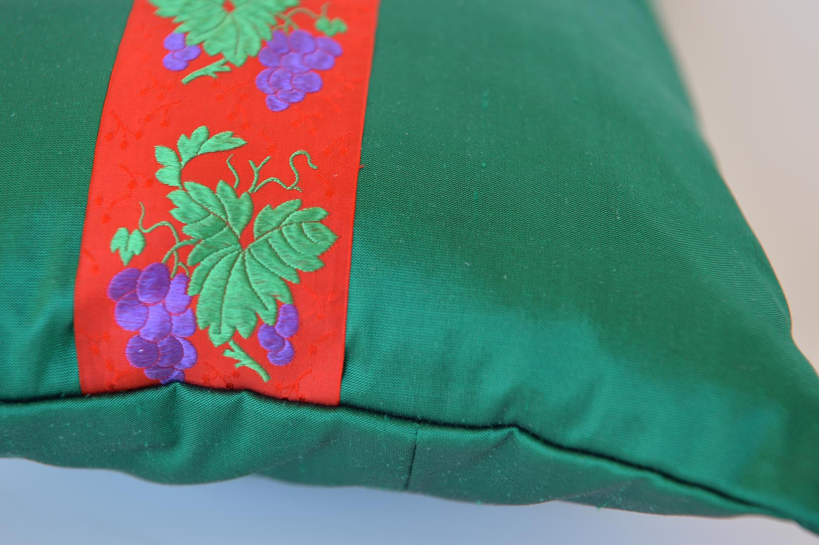 """Raisins"" Bond green silk cushion - MyBilletDoux.com"