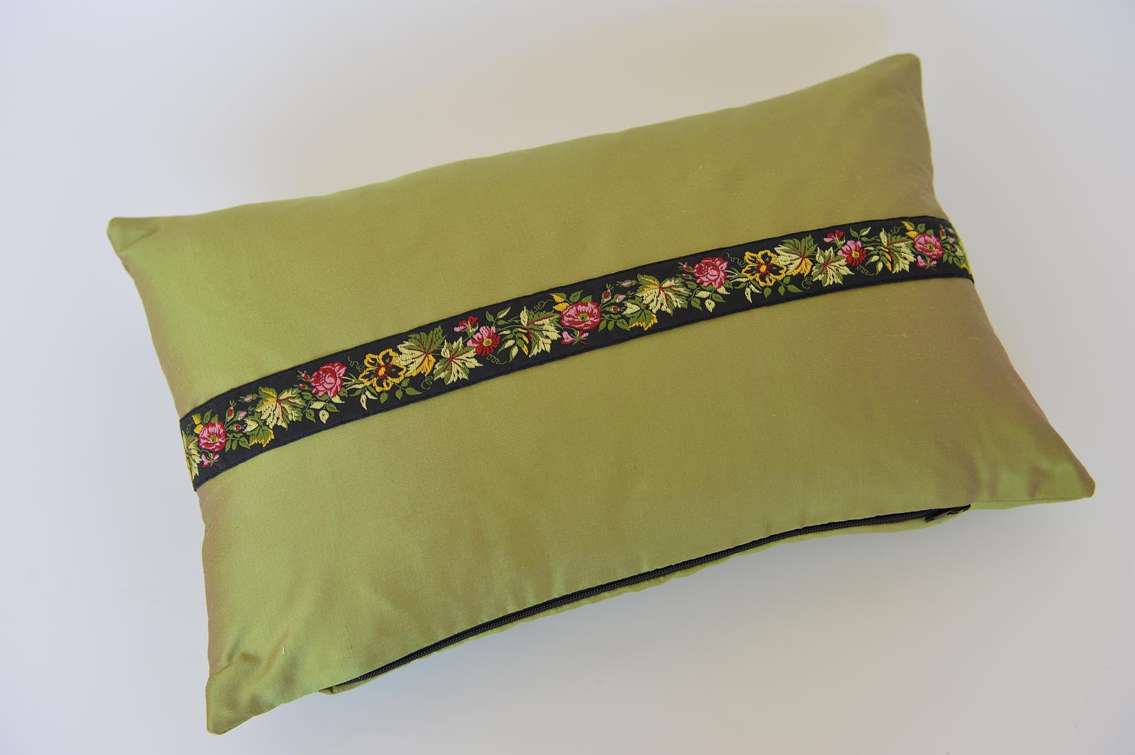 """Rose"" Cactus green silk cushion - MyBilletDoux.com"