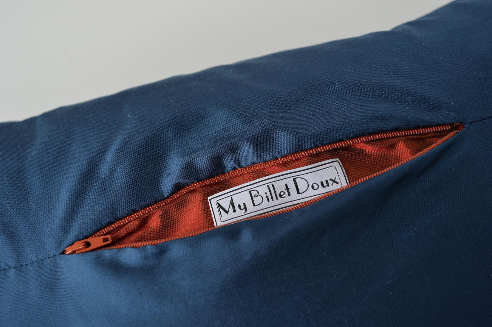 """Bandeau"" Insignia blue silk cushion - MyBilletDoux.com"