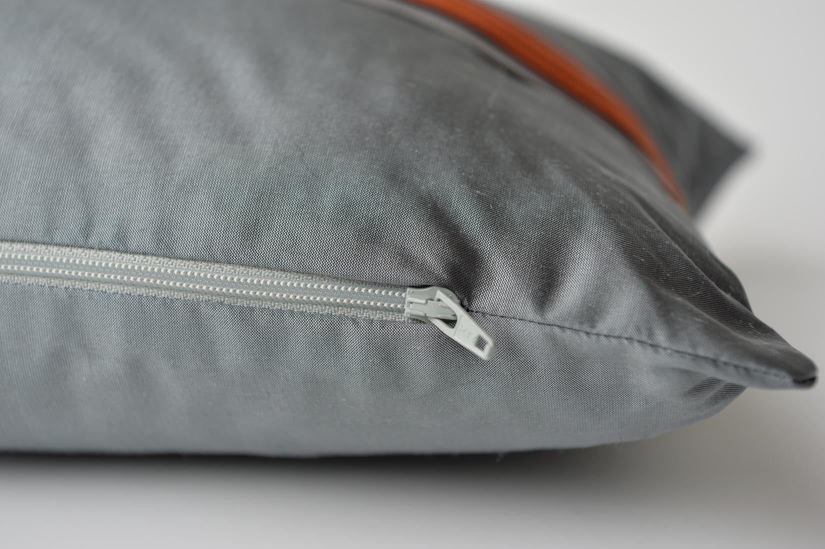 """Bandeau"" Slate grey silk cushion - MyBilletDoux.com"