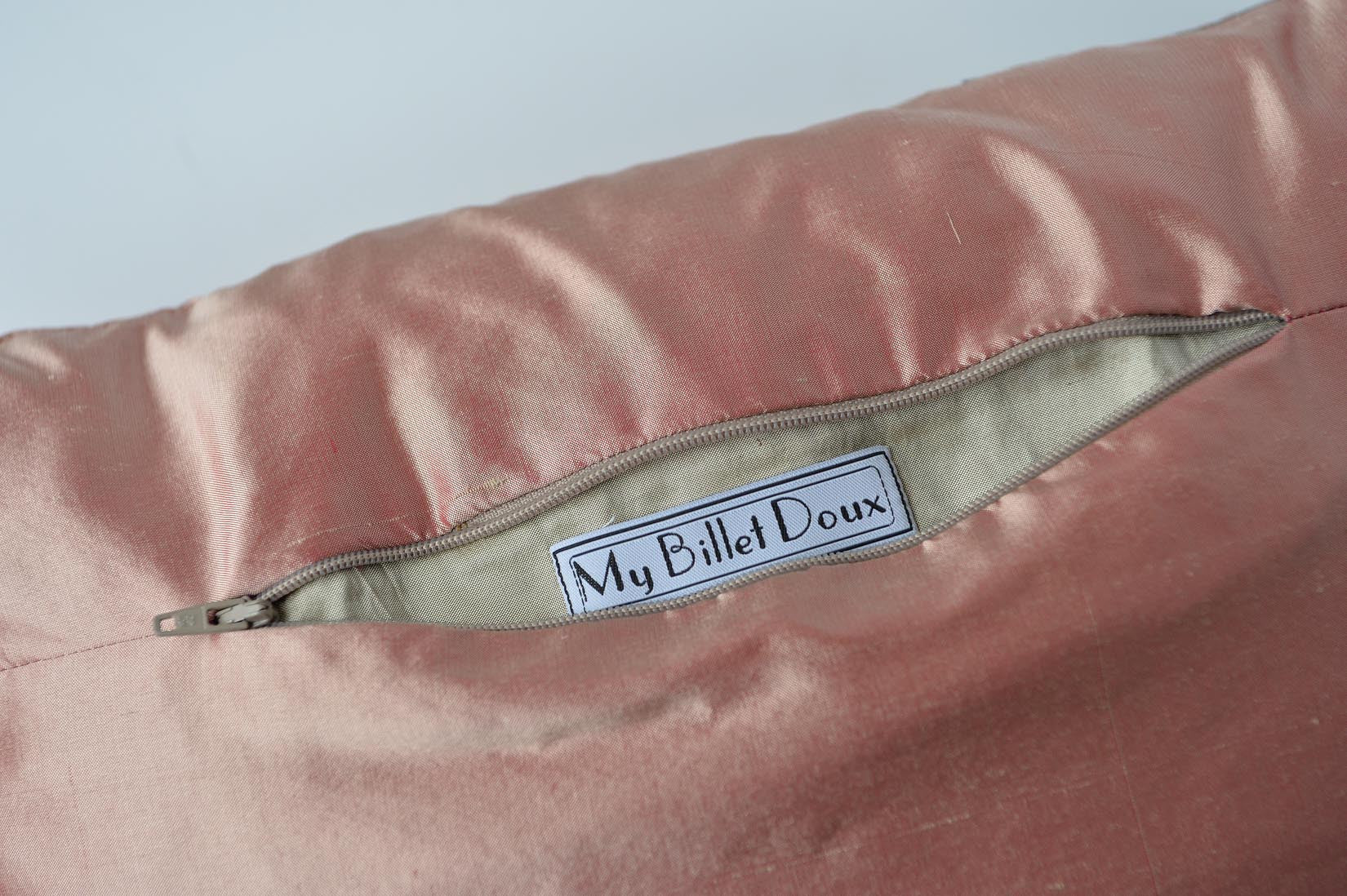 """Lamé"" Sunset pink silk cushion - MyBilletDoux.com"