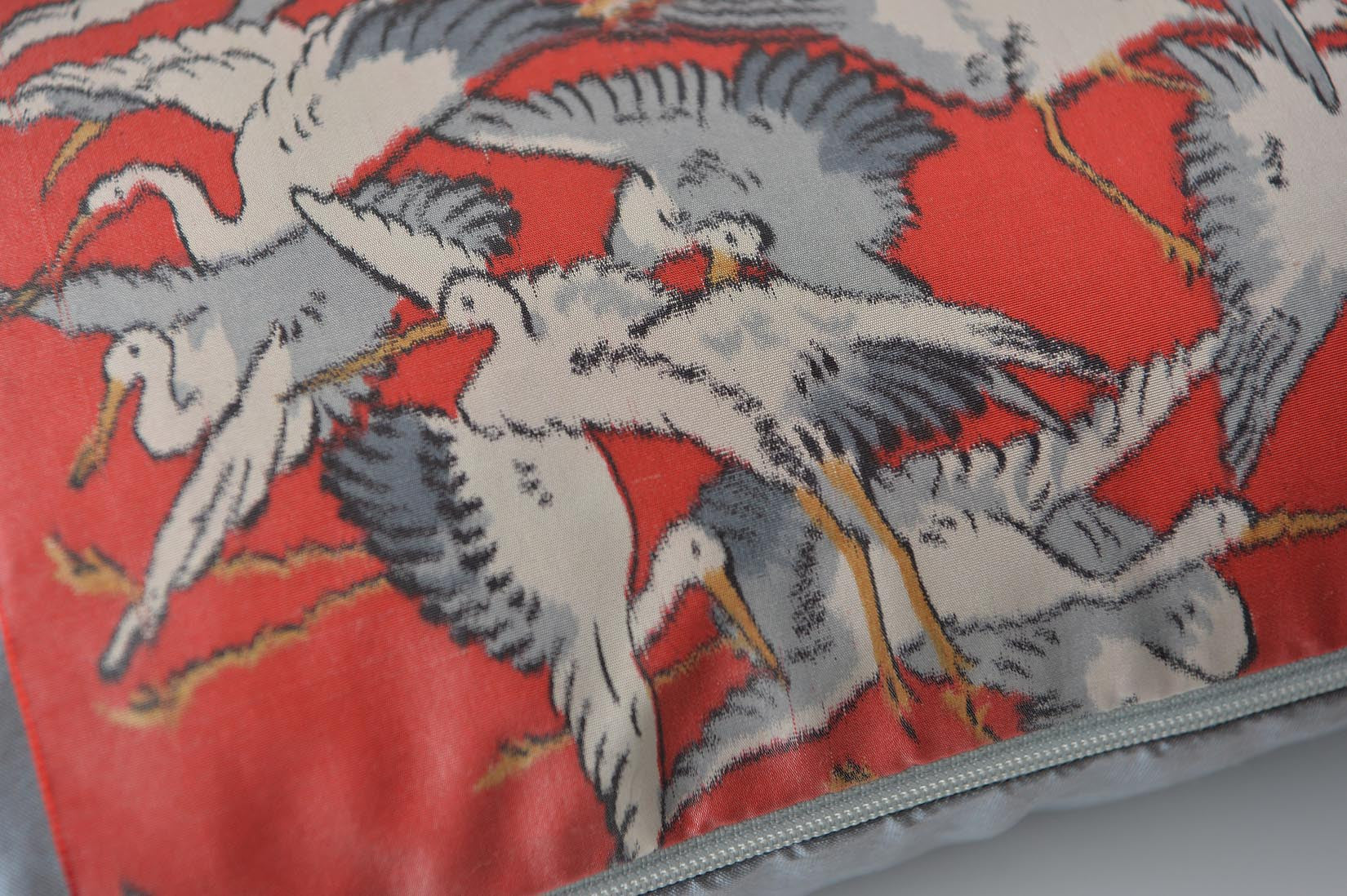 """Cigogne"" Lunar grey silk cushion - MyBilletDoux.com"