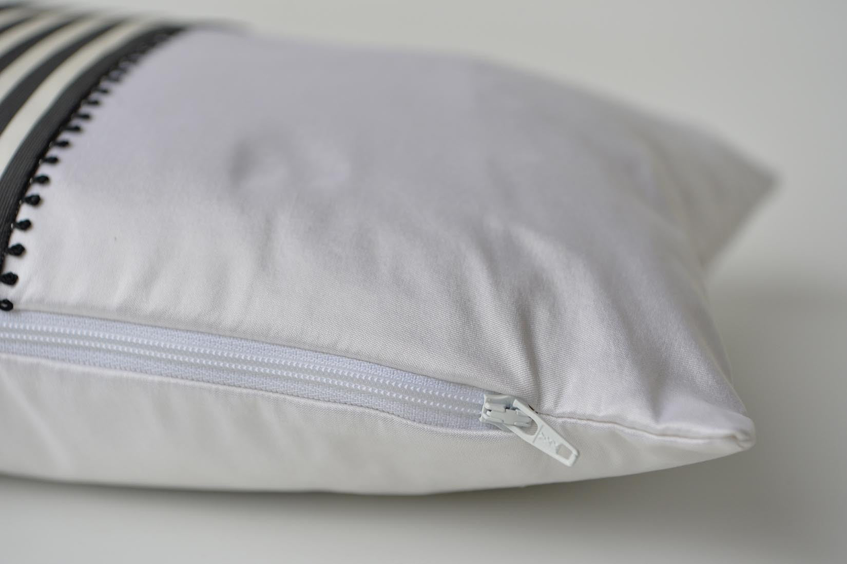 """Picot"" White silk cushion - MyBilletDoux.com"