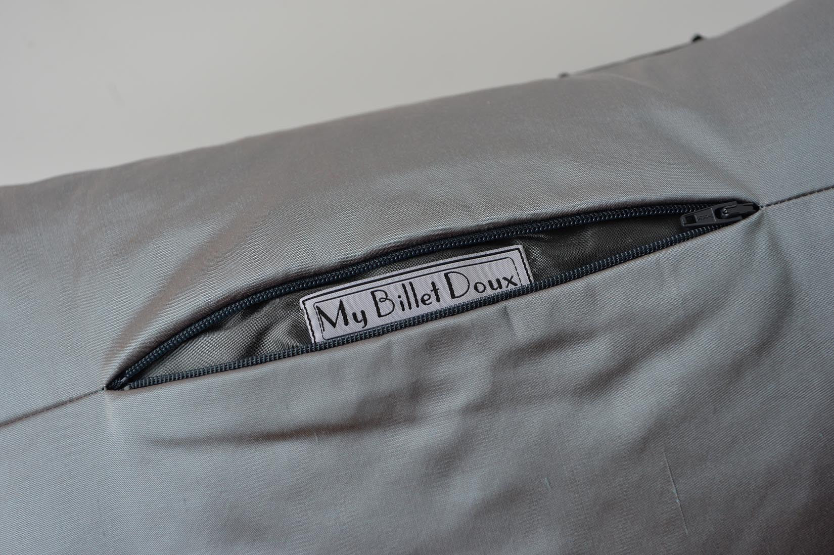 """Echelle"" Lunar grey silk cushion - MyBilletDoux.com"