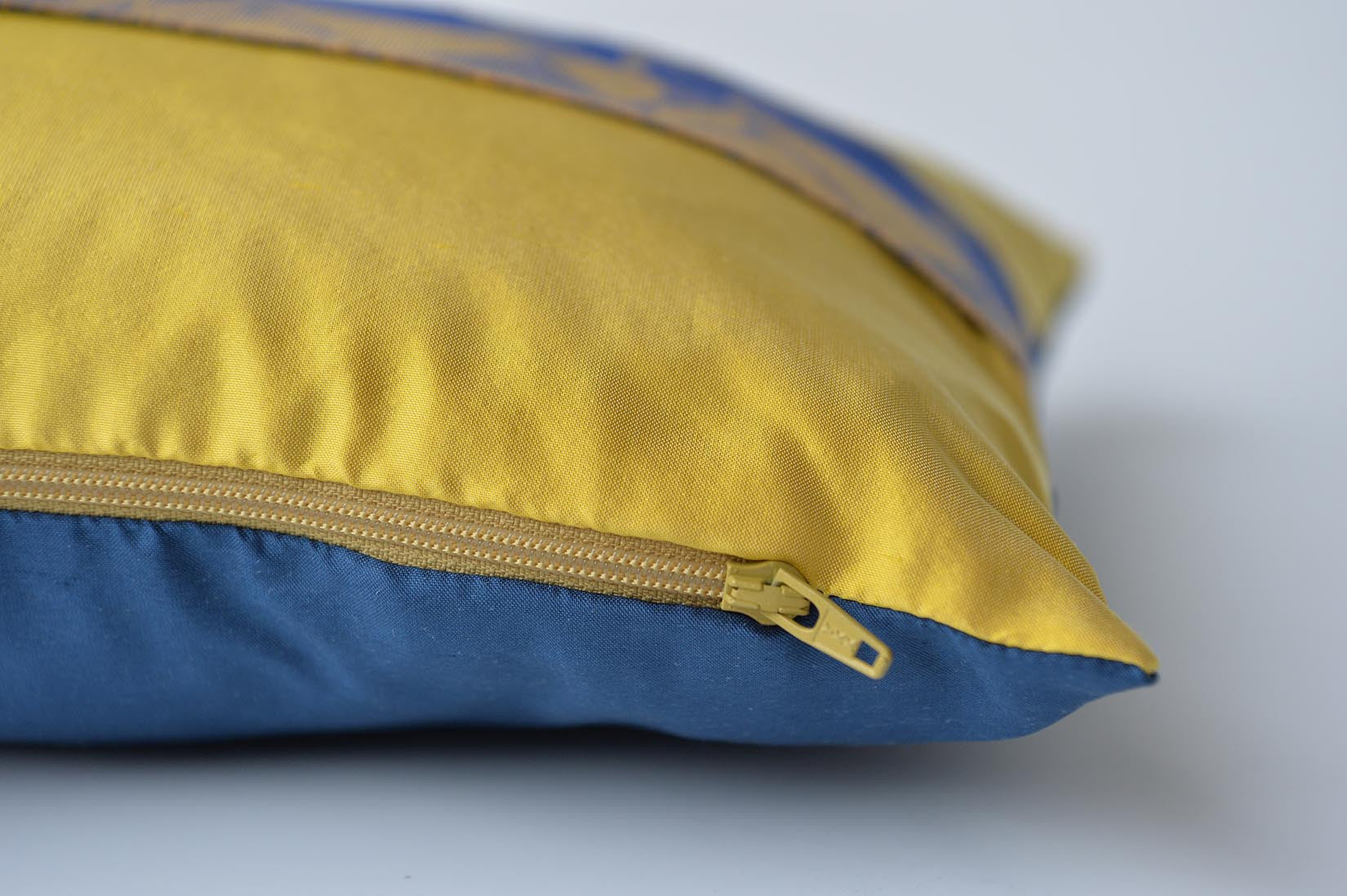 """Triangulaire"" Marigold yellow silk cushion - MyBilletDoux.com"