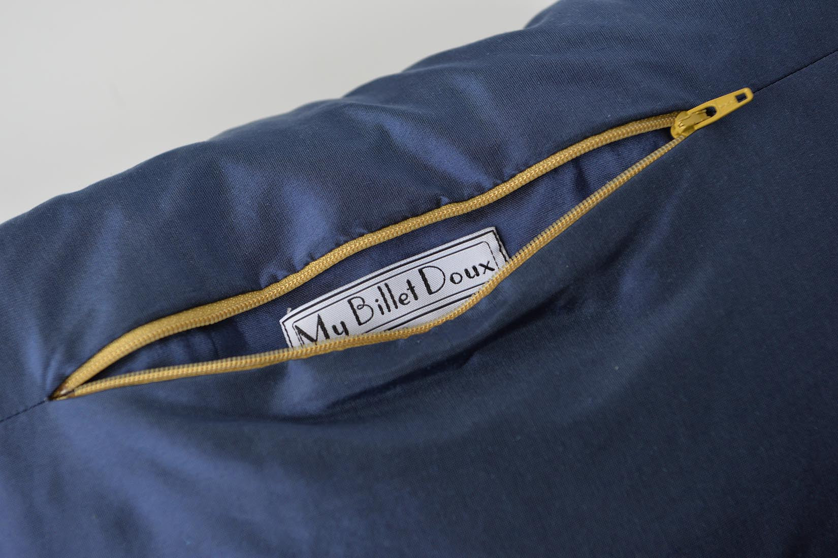 """Fragment"" Wilhelm blue silk cushion - MyBilletDoux.com"