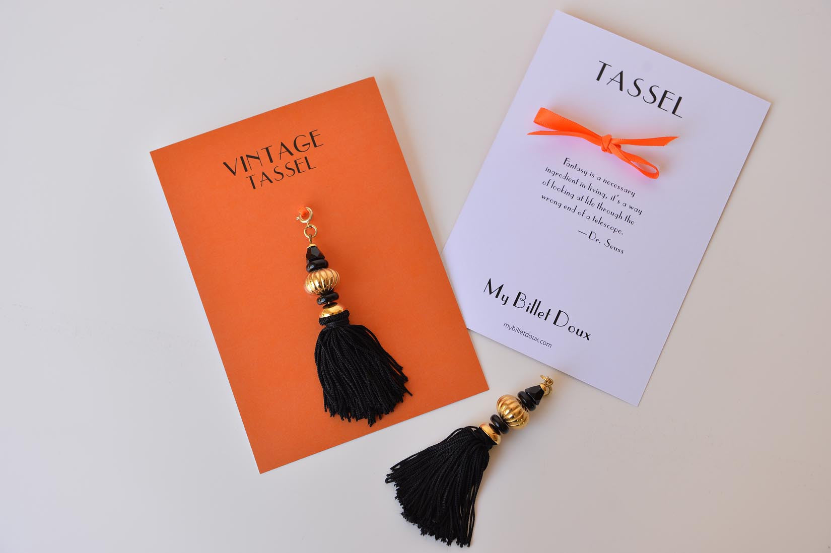 Black vintage tassel with gold beads - MyBilletDoux.com