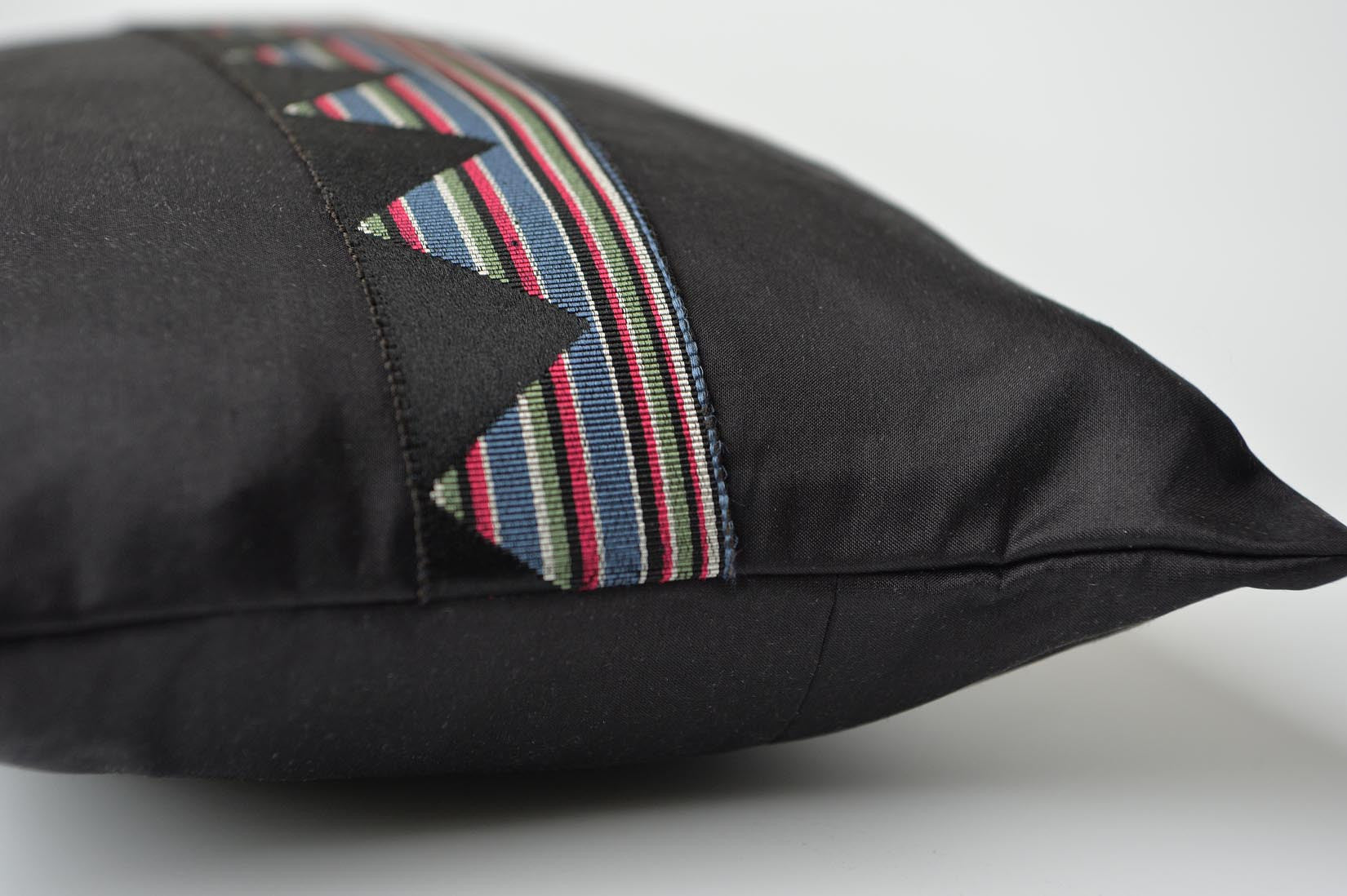 """ZigZag"" Black silk cushion - MyBilletDoux.com"