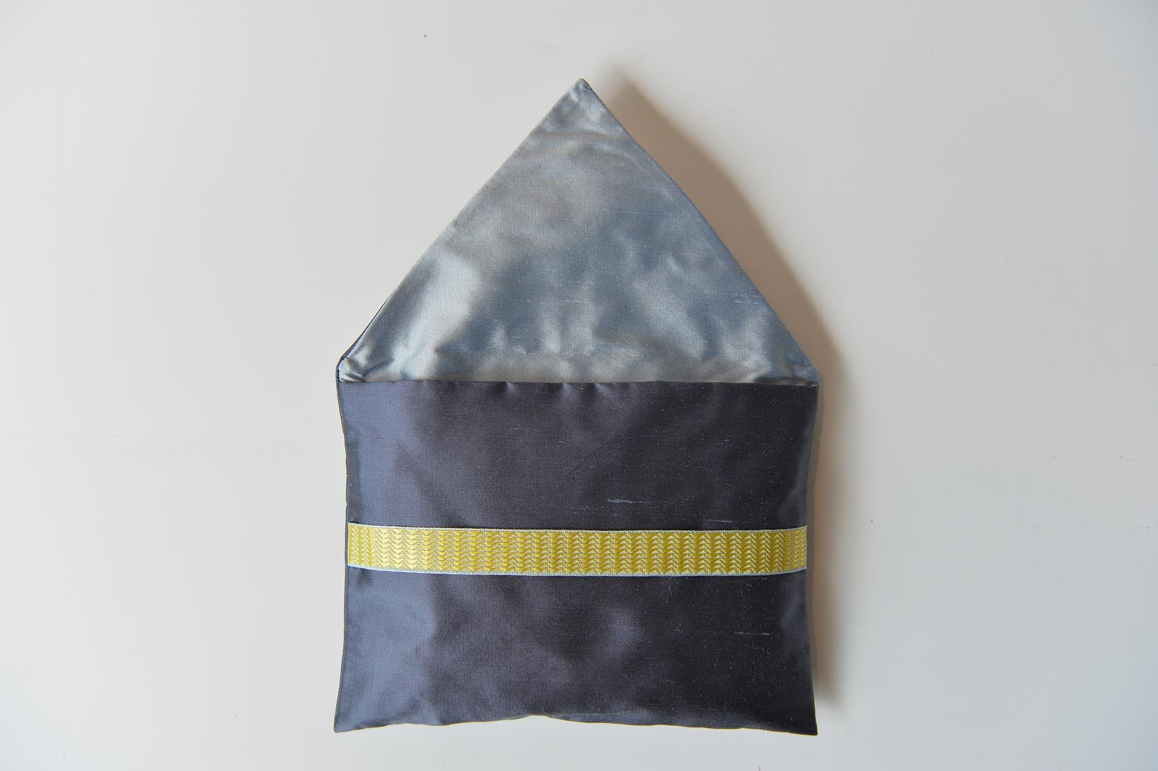 Triangles Gunmetal grey silk envelope cushion - MyBilletDoux.com