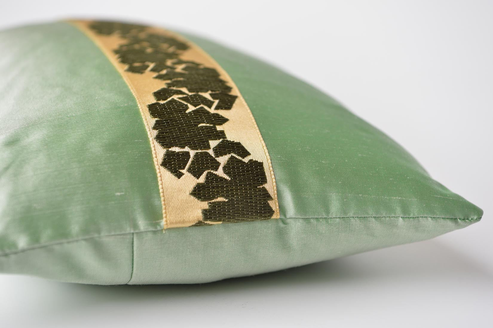 """Fragment"" Willow green silk cushion - MyBilletDoux.com"