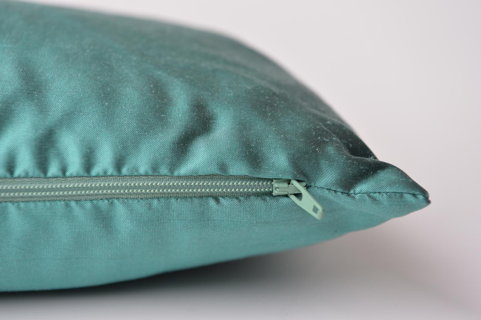 """ZigZag"" Elfin blue silk cushion - MyBilletDoux.com"