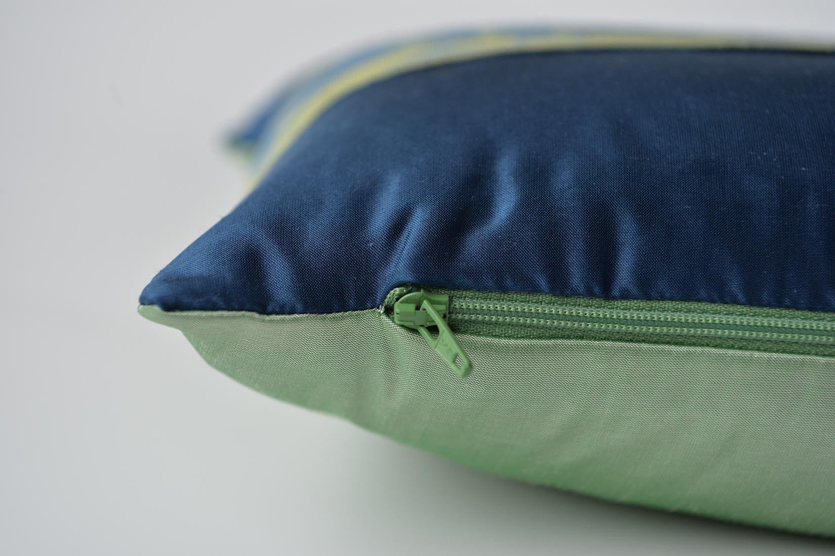 """Triangulaire"" Insignia blue and Willow green silk cushion - MyBilletDoux.com"