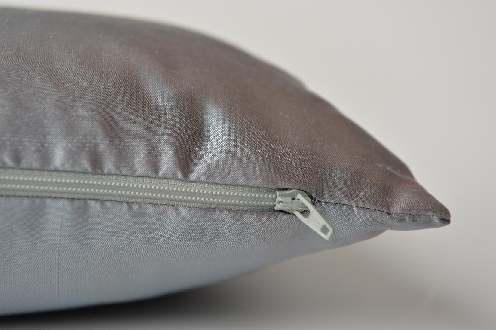 """Pointilé"" Lunar grey silk cushion - MyBilletDoux.com"