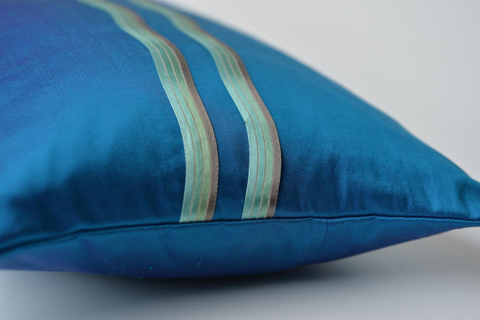 """Vague"" Turquoise silk cushion - MyBilletDoux.com"