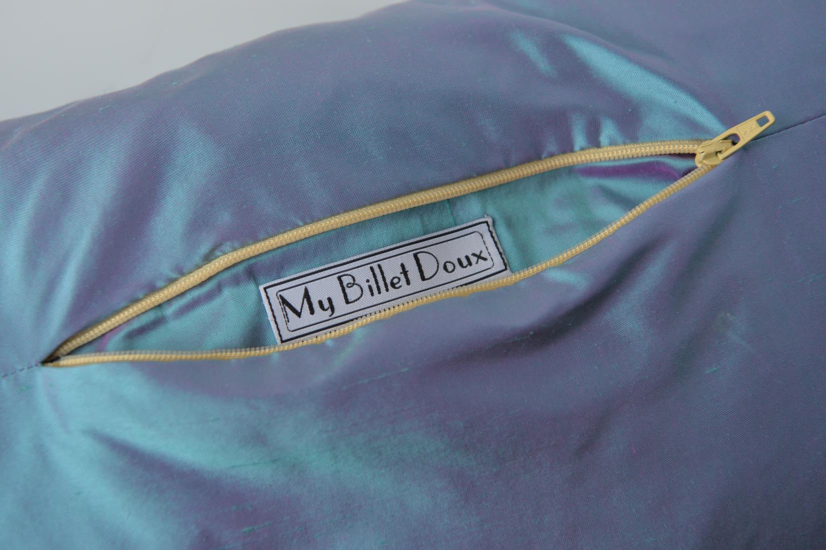 """Fragment"" Oasis blue silk cushion - MyBilletDoux.com"