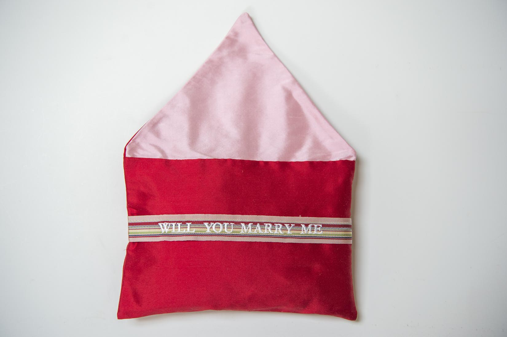 Will you marry me- vermillion silk envelope cushion - MyBilletDoux.com