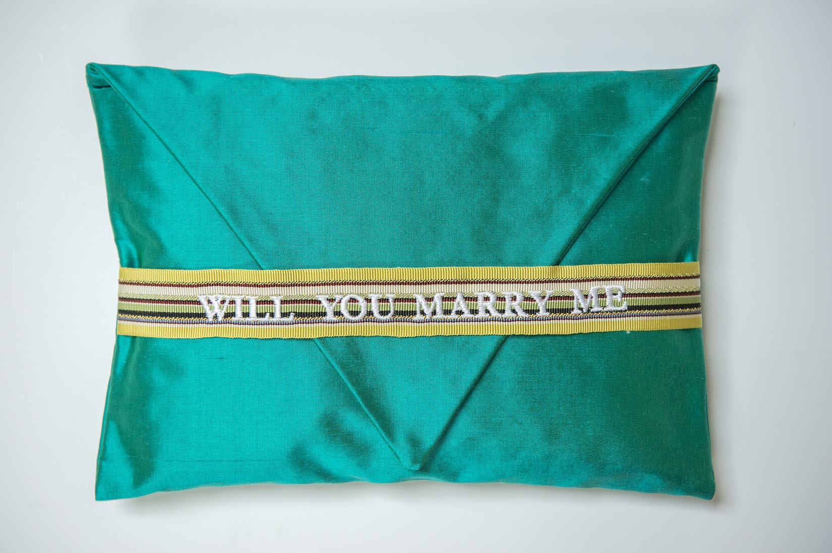 Will you marry me - teal silk ring cushion - MyBilletDoux.com