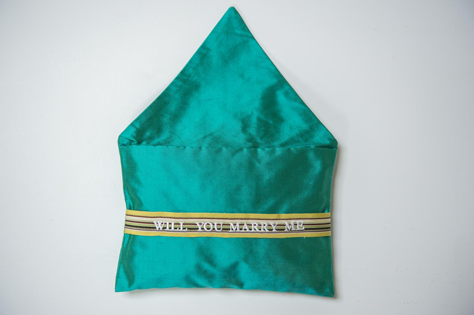 Will you marry me - teal silk envelope cushion - MyBilletDoux.com