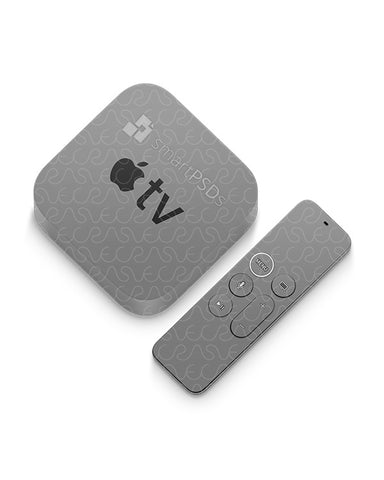 Apple TV & Remote 5th Gen (2017) Vinyl Skin Mockup PSD Template