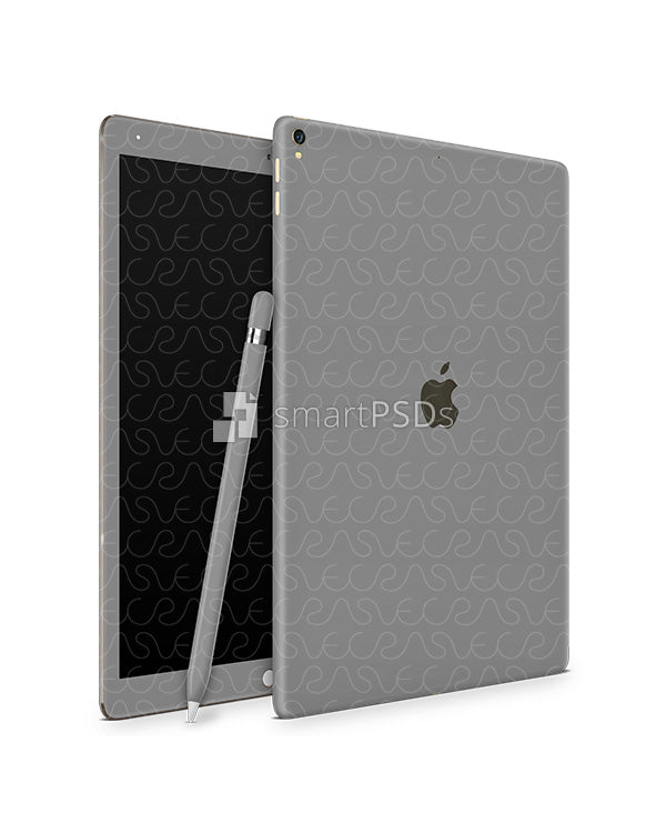 Apple iPad Pro (12.9) 2017 Tablet Skin Design Template (Front-Back Angled)
