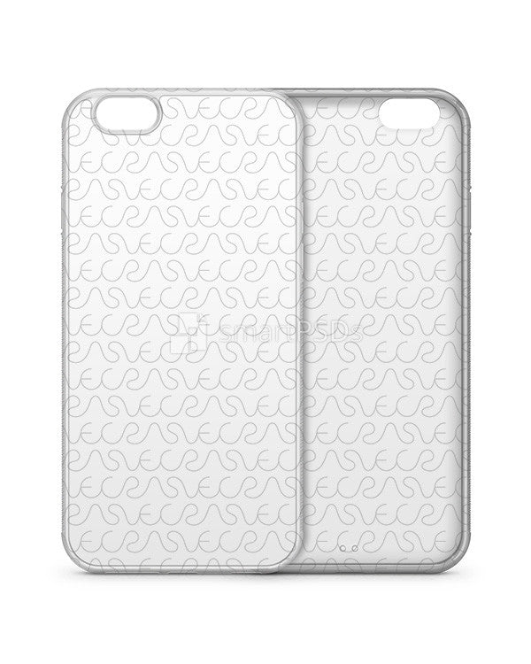 Apple iPhone 6-6s Plus 2d Clear Frosted Rubber Flex Mobile Case Design Mockup 2015 (3 Views)