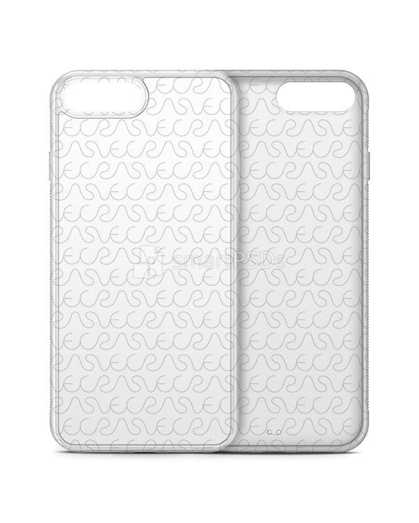 Apple iPhone 7 Plus 2d Rubber Clear Frosted Case Mockup-3 Views