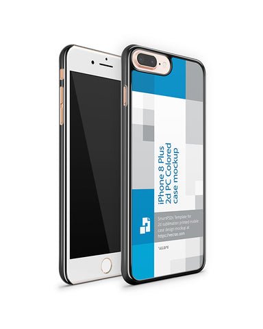 iPhone 8 Plus 2d PC Colored Case Design Mockup 2017 (Front-Back Angled)