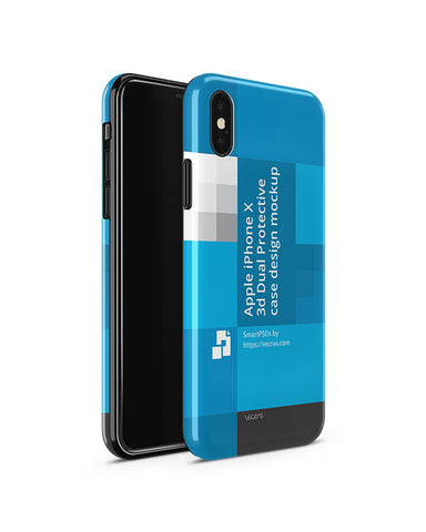 Apple iPhone X 3d Dual Protective Cover Design Template (3 Views)