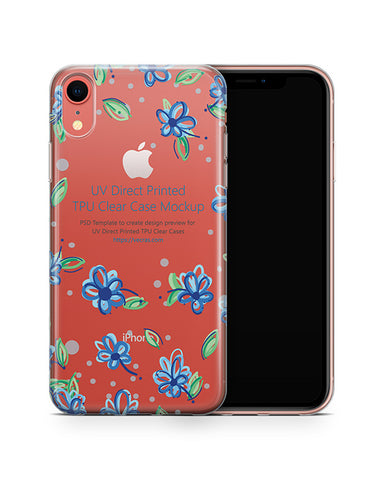 Apple iPhone XR UV TPU Clear Case Mockup 2018