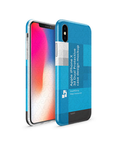 Apple iPhone X 3d Dual Protective Clear TPU Cover Design Template (3 Views)