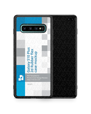 Samsung Galaxy S10 Plus 2d RubberFlex Case Design Mockup 2019