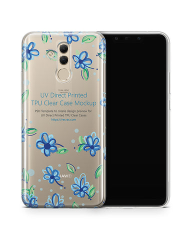 Huawei Mate 20 Lite UV TPU Clear Case Mockup 2018