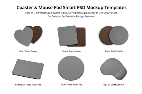 MousePads & Coasters Design Mockups Pack