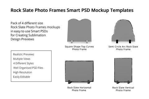Rock Slate Photo Frames Design Mockups Pack