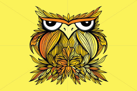 Owl -  Freehand Creative Linear Vector Graphic Artistic Design Composition