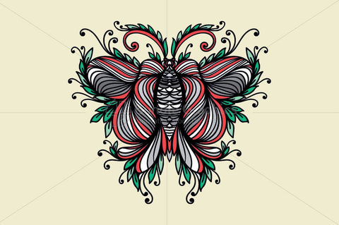 Symmetrical Linear Ornamental Style Butterfly
