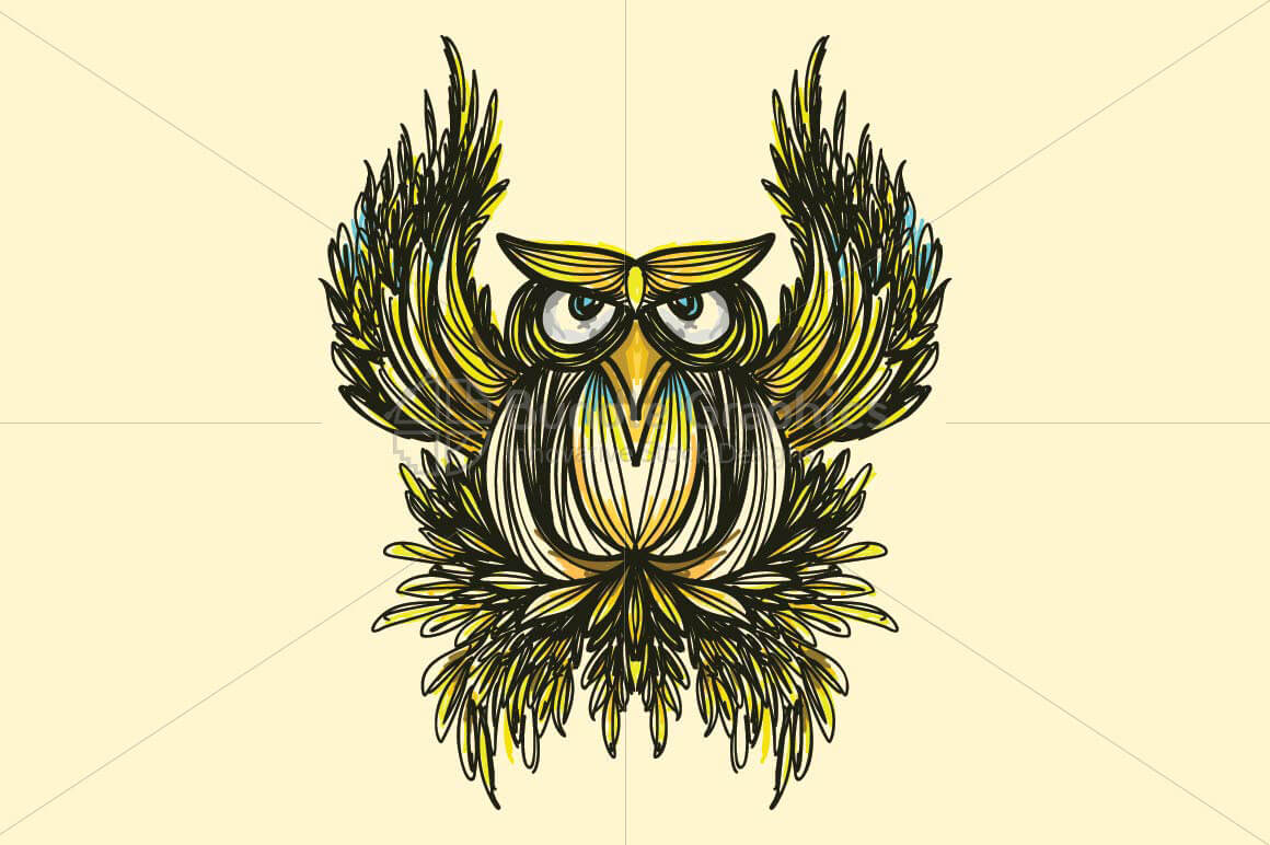 Owl -  Freehand Creative Linear Artistic Composition