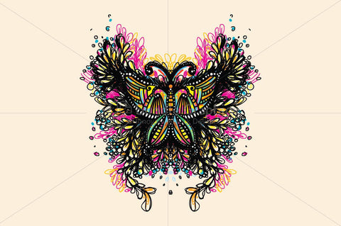 Beautiful Butterfly - Creative Scribble Style Insect