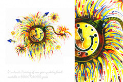 Celebration Boom Timer-Royalty Free Raster Graphic - New Year Celebration Boom Timer Handmade  Colorful Element