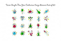 New Year Royalty Free Vector Graphics Design Elements Pack