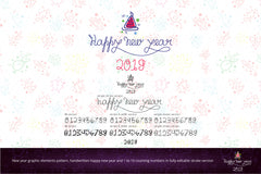 New year graphic elements pattern, handwritten happy new year and 1 to 10 counting numbers in geometrical and continuous linear style in fully editable stroke version.