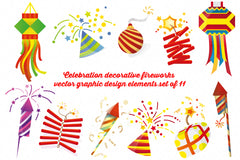 Celebration Decorative Fireworks - Vector Graphic Design Elements Set of 11