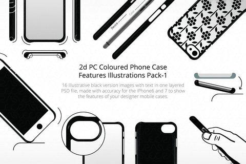 2D PC Colored Phone Case Features Illustrations Pack 1