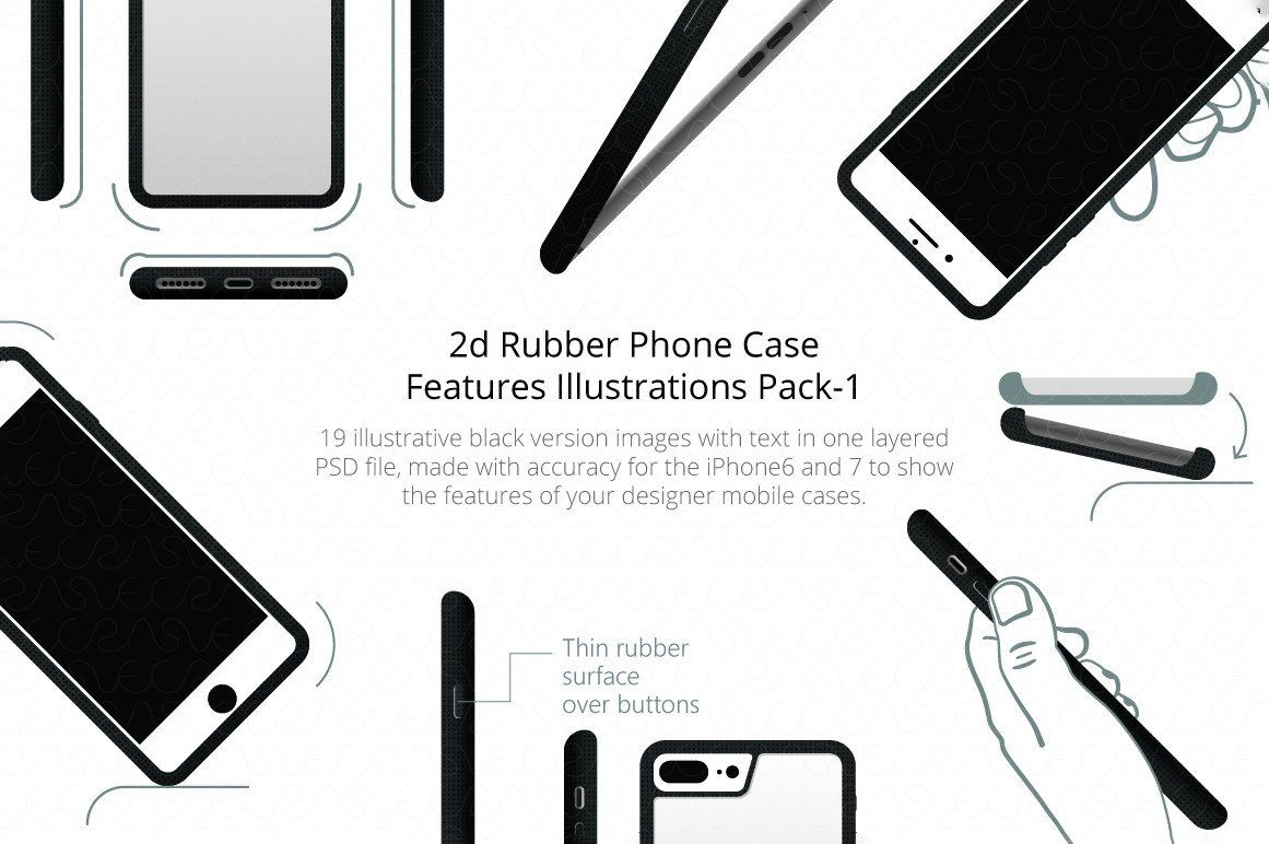 2d Rubber Phone Case Features Illustrations Pack 1