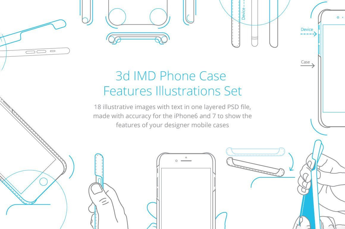 3d IMD Phone Case Features Illustrations Set