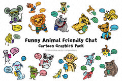 Friends Fun Chat Cartoon Animal Graphic Pack