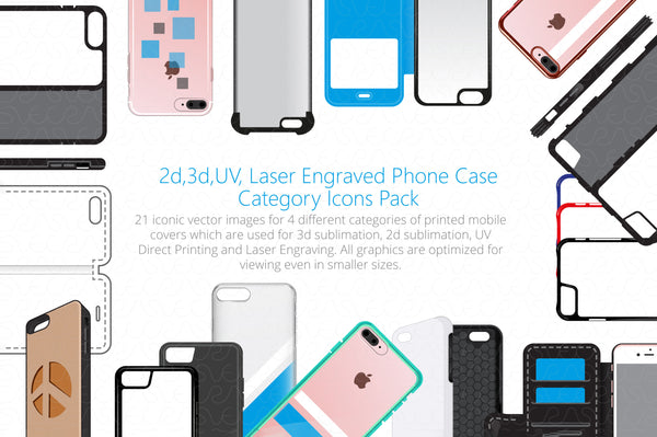 2d, 3d, UV & Laser Engraved Phone Case Cover Styles Icons Set