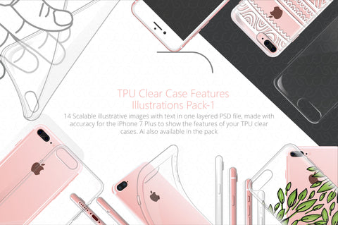 UV Printed TPU Clear Phone Case  Feature Illustrations Pack-1