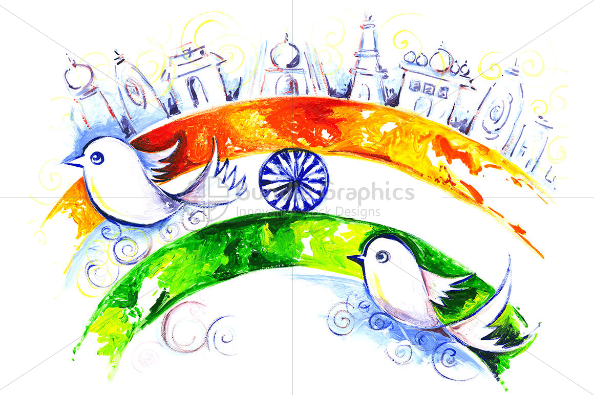 Handmade abstract watercolour painting representing Indian Flag